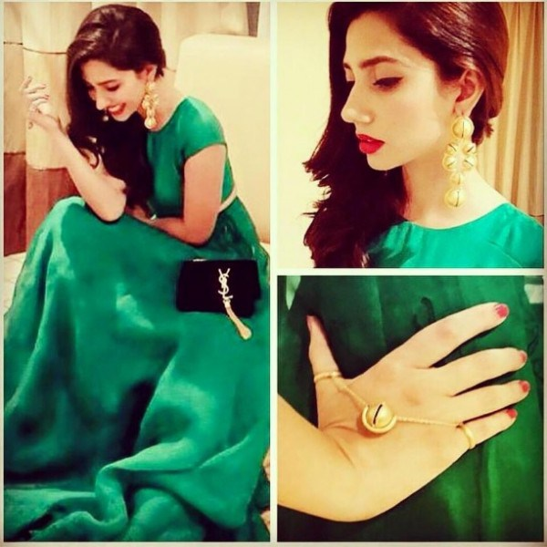 Mahira Khan in green skirt on Hum Awards