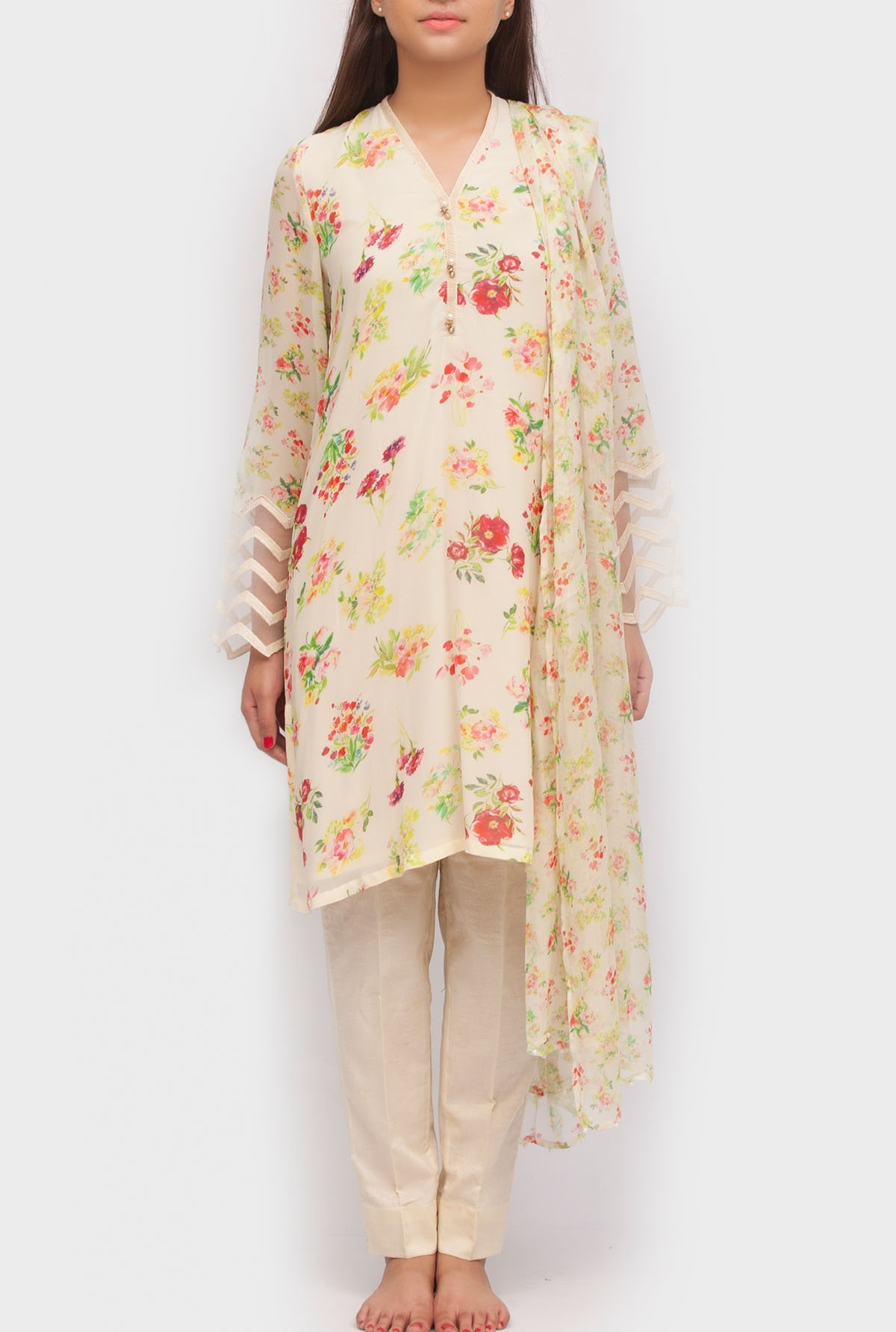 three piece digital printed chiffon suit by Generation