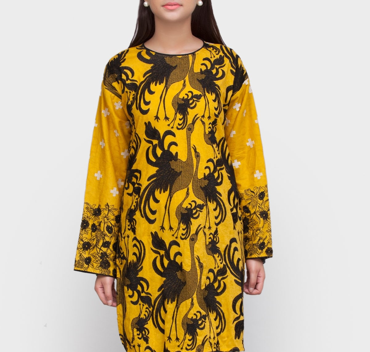 peacock design yellow winter tunic in honey bee contrast