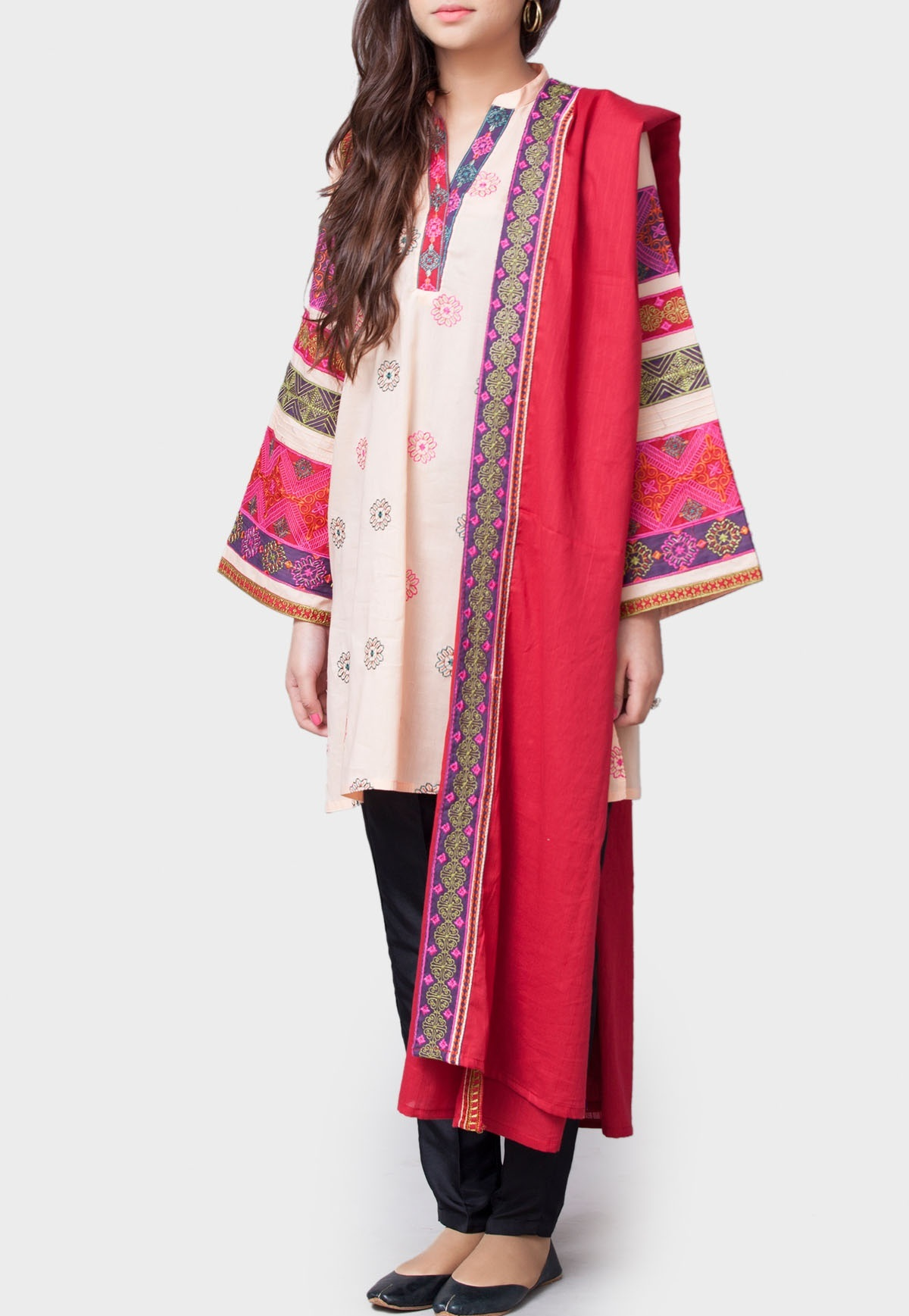 generation winter two piece rangoli voil suit