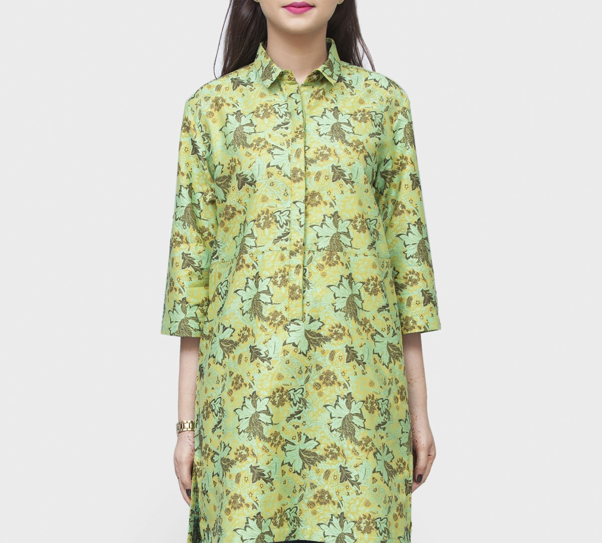 green floral collar tunic for winters