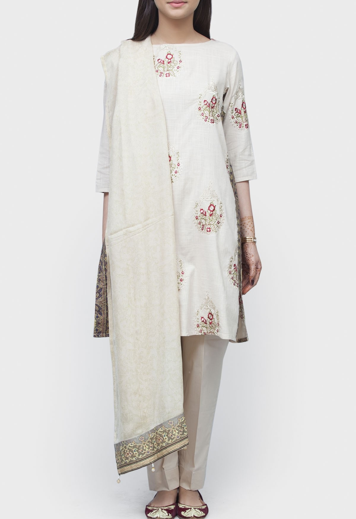 slub khaddar off white winter suit by generation