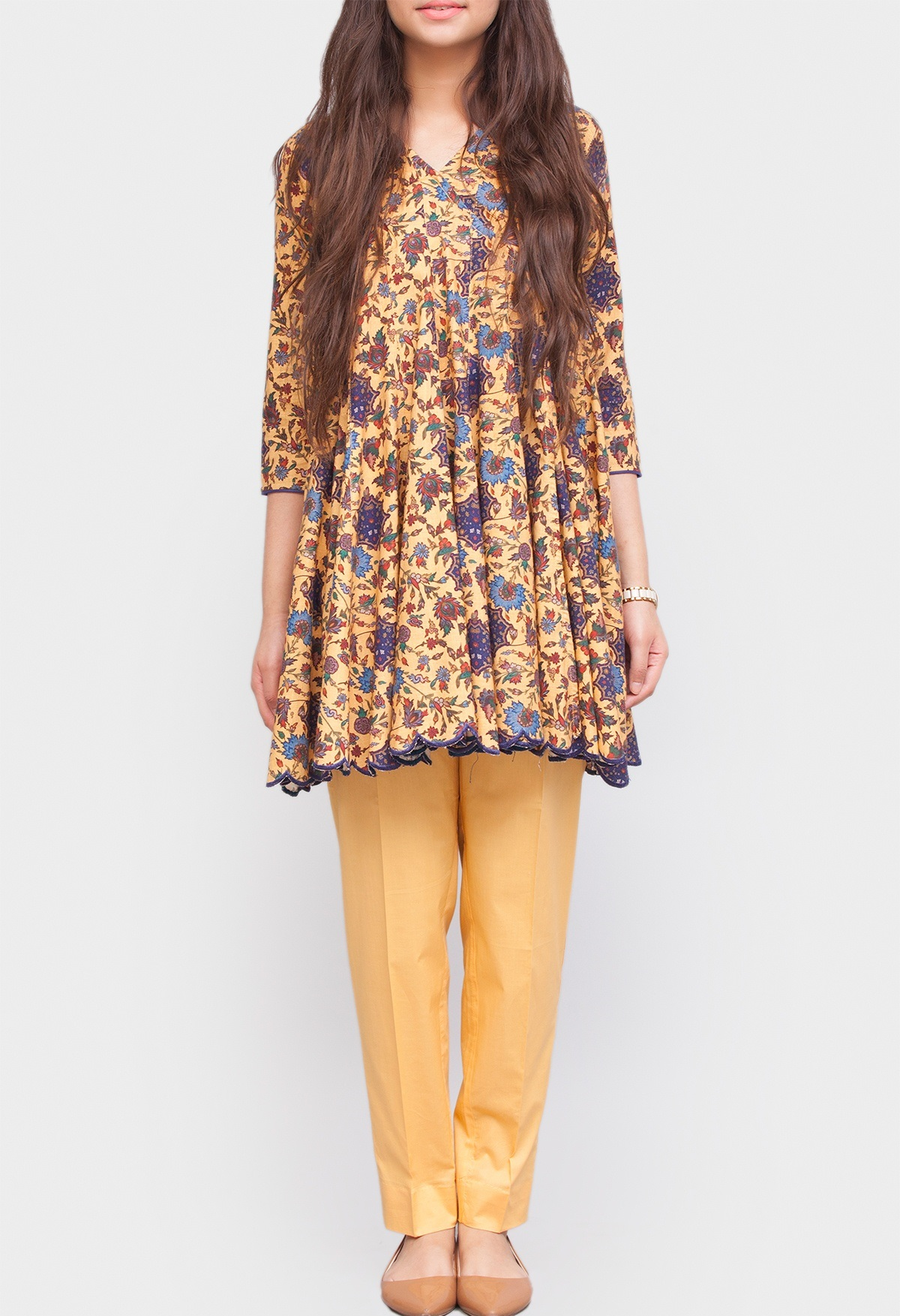 generation floral printed khaddar winter frock