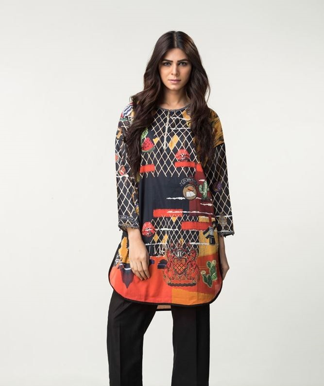 ethnic black winter top with red contrast