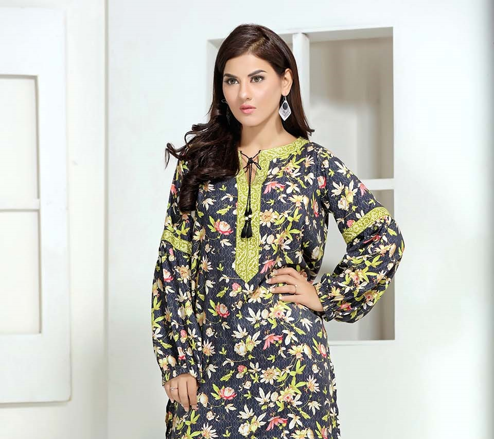 printed linen fusion winter kurti by so kamal