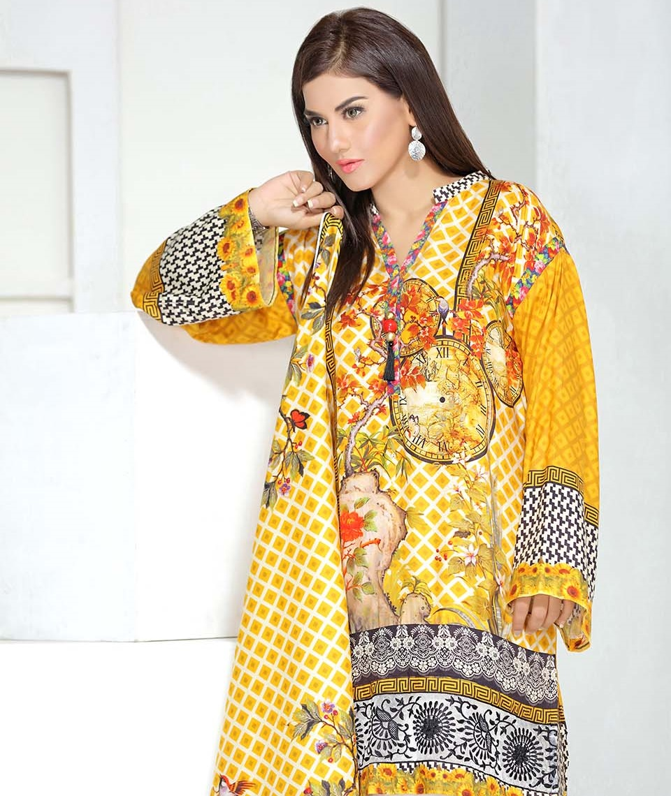 three piece embroidered linen saffron suit