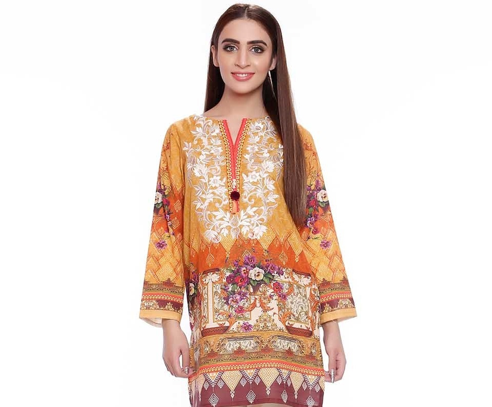 digital embroidered karandi single RTW shirt