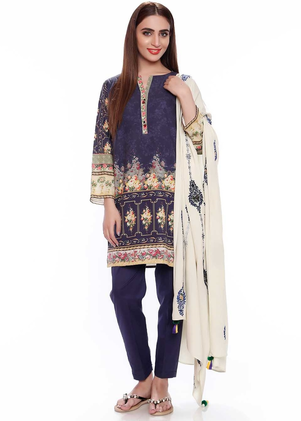 SK navy blue digital embroidered karandi suit