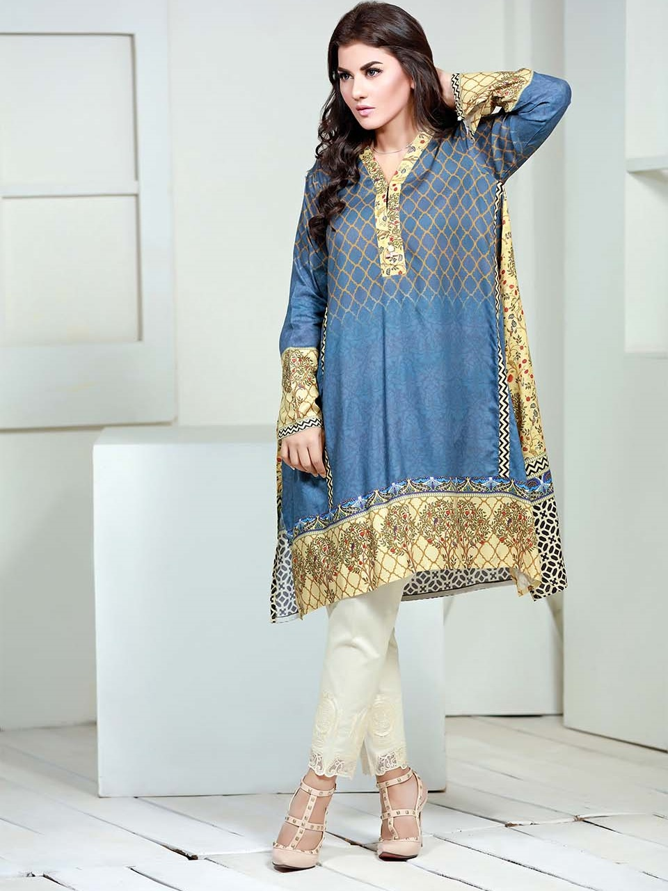 SK digital printed linen single winter shirt in blue color