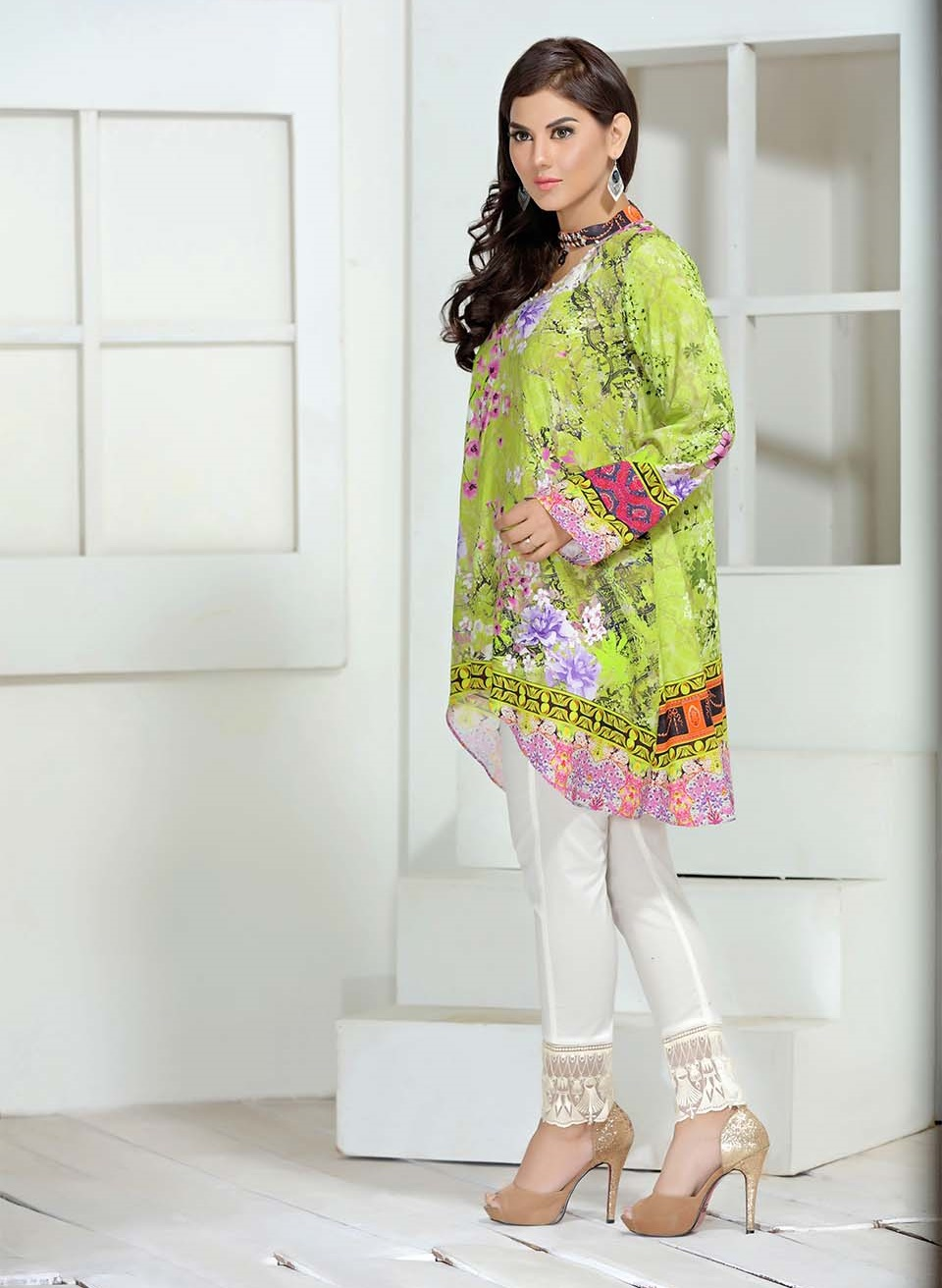 digital printed two piece parrot green linen winter dress