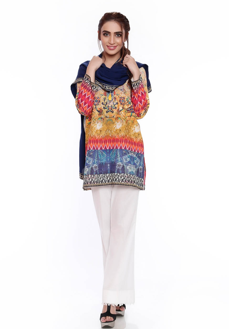 SK digital printed karandi shirt with embroidered patch