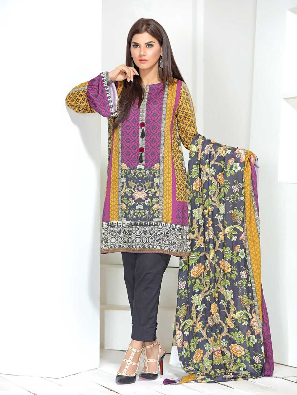 purple digital embroidered linen 3 piece suit