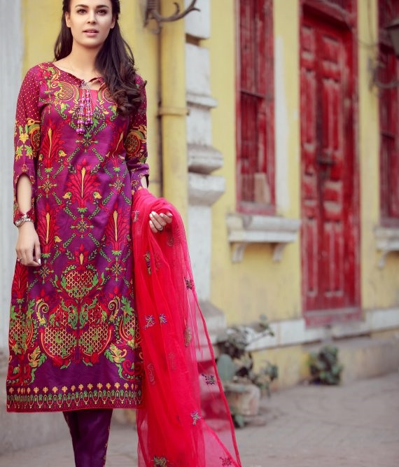 pink designer winter dress by Libas with net dupatta