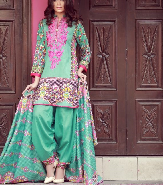 sky blue winter suit with embroidered gala