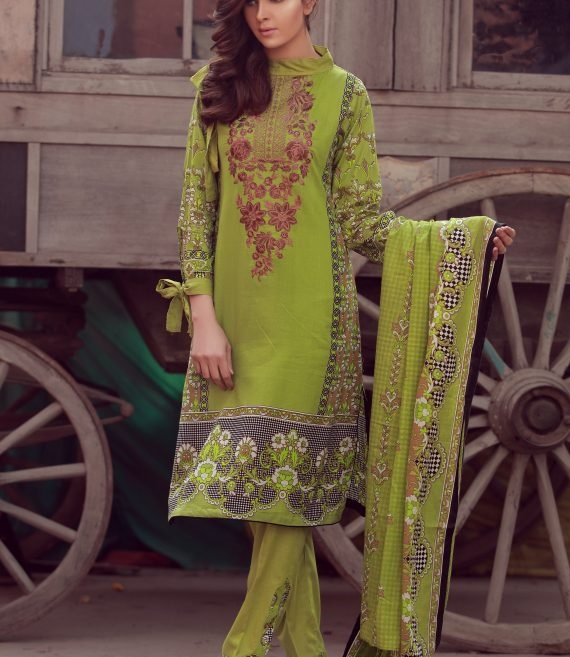 mehndi green winter dress with black and white box print