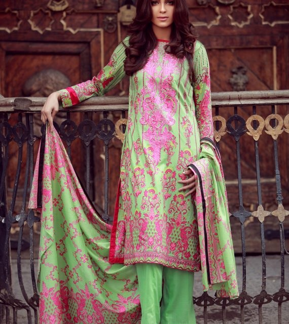 apple green winter suit with pink embroidery by LIBAS