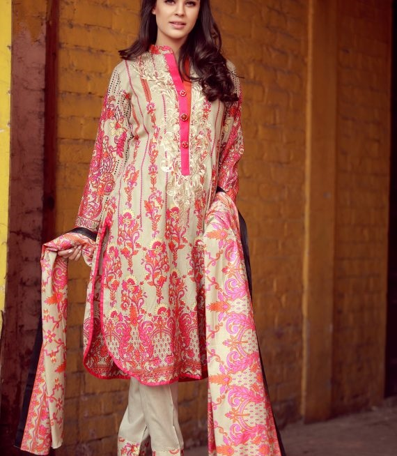 skin embroidered dress with pink and orange design
