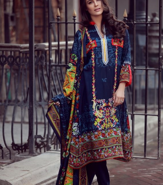 LIBAS navy blue dress with red and yellow design