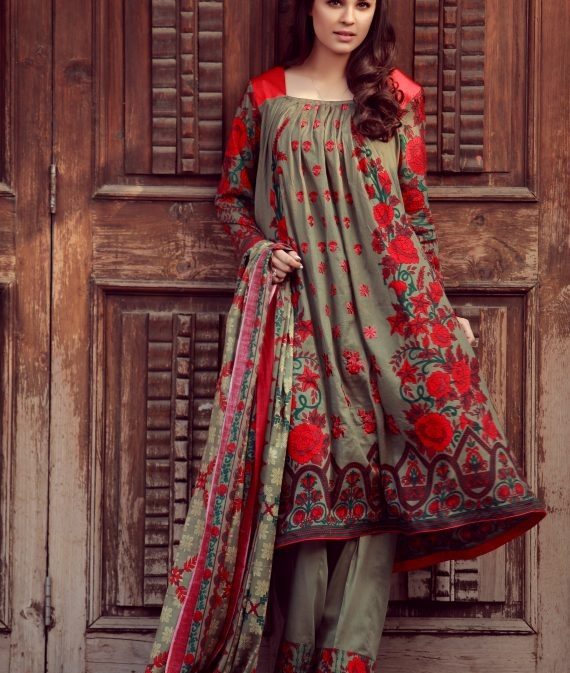 pastel brown winter suit with red flowers
