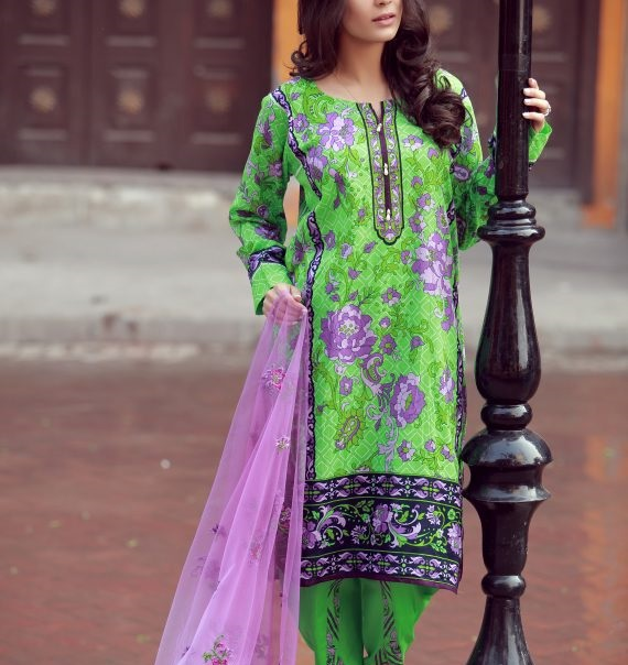 parrot green dress with purple design and net dupatta
