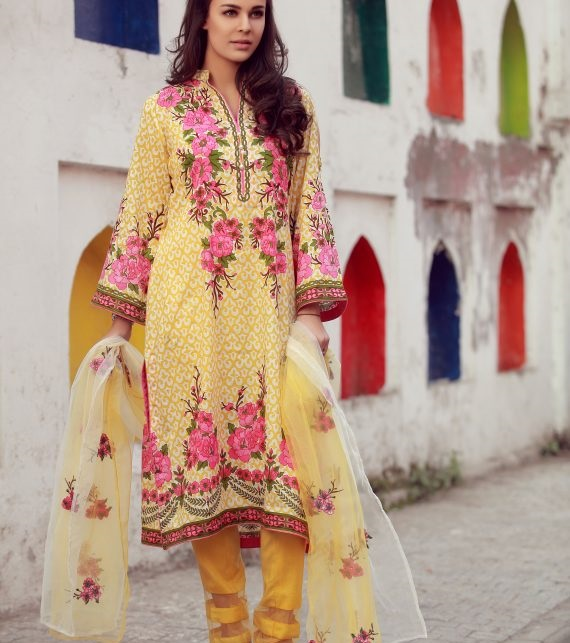 yellow and pink printed fall dress 2017 by LIBAS