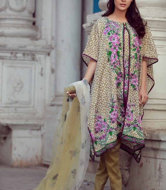skin brown printed winter suit with net dupatta