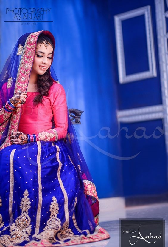 blue bridal ghagra choli