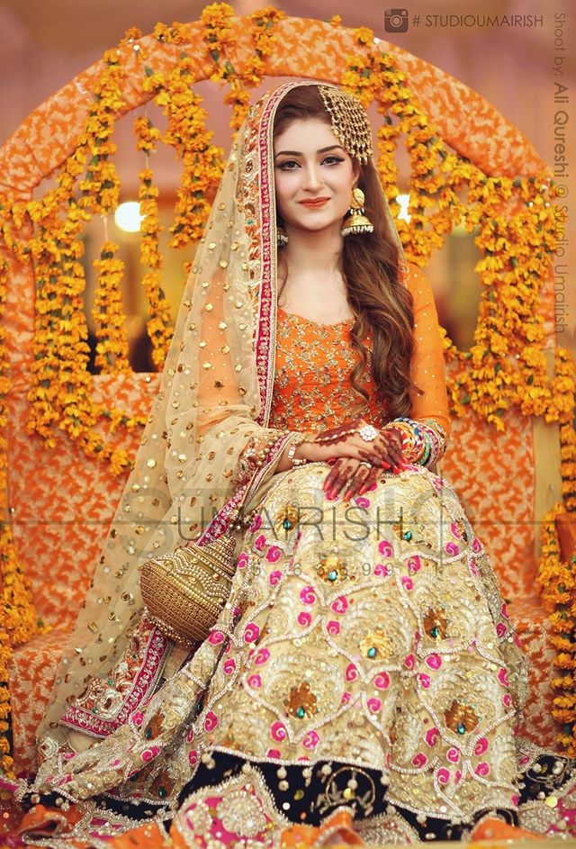 orange bridal ghagra choli