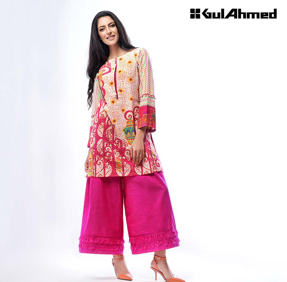 Pink Khaddar Shirt with Palazzo pant