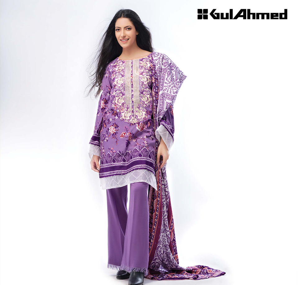 Gul Ahmed Purple Linen Suit for Winter