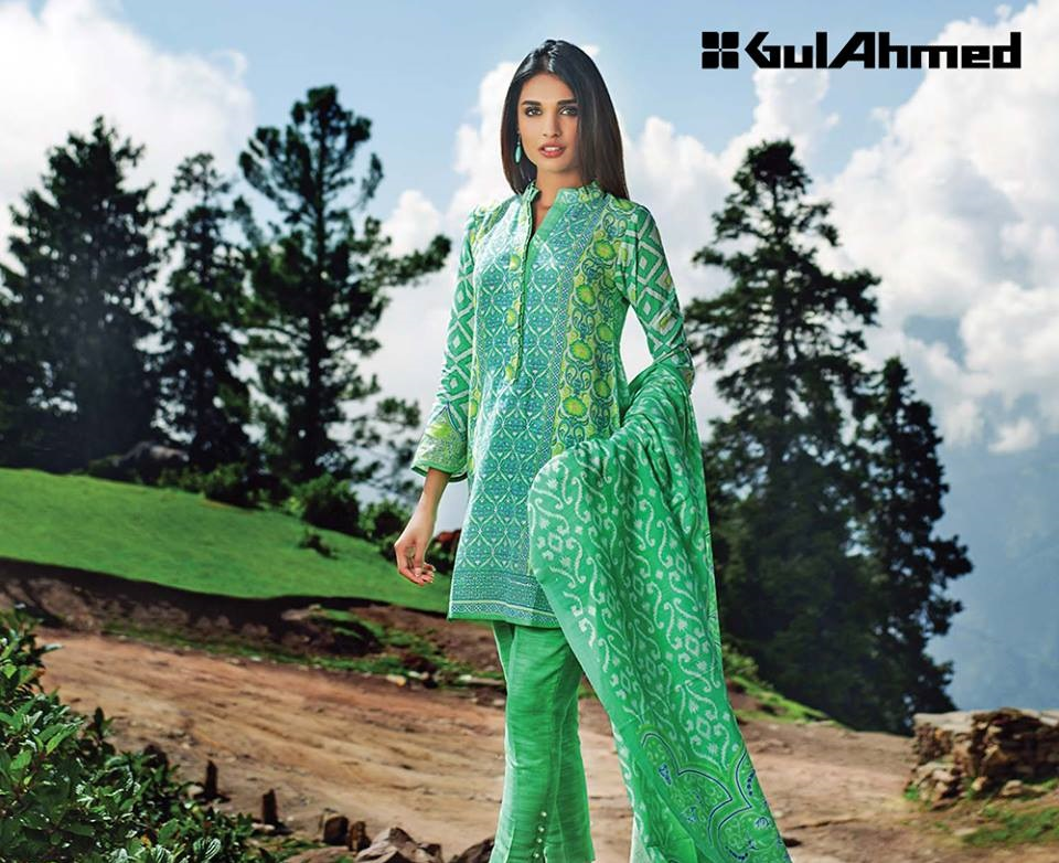 green three piece khaddar suits