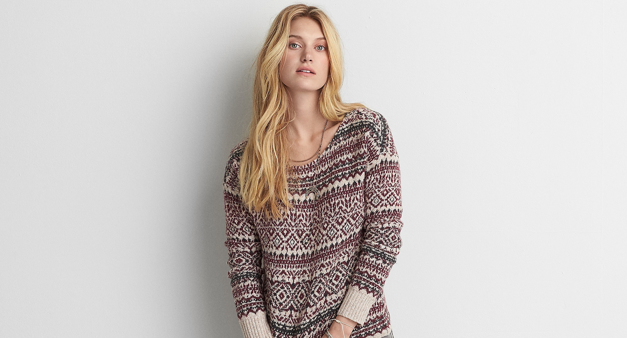 Aeo Patterned Crew Sweater for winters