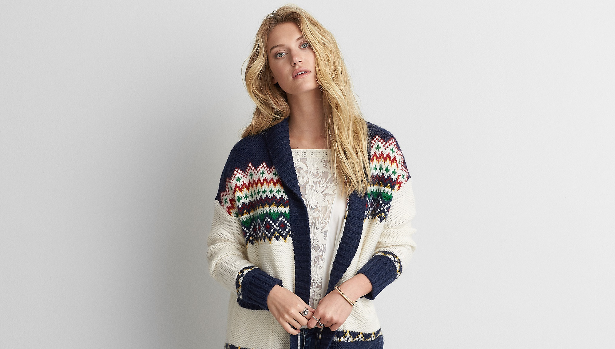 Aeo Patterned Pocket Cardigan for ladies
