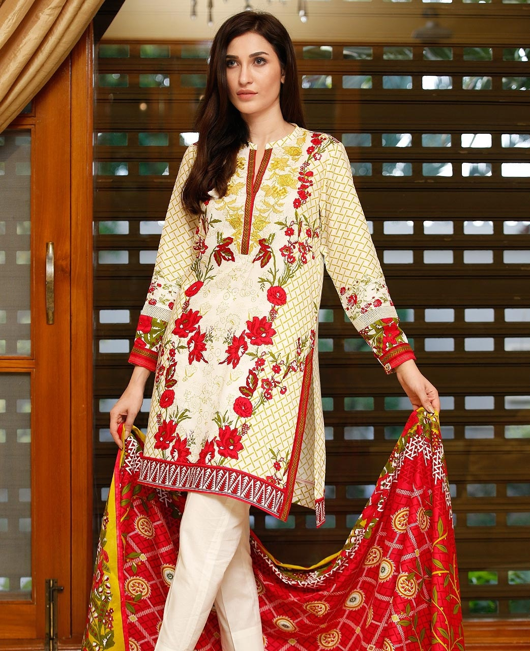 Ethnic Statement french floral red suit for winter