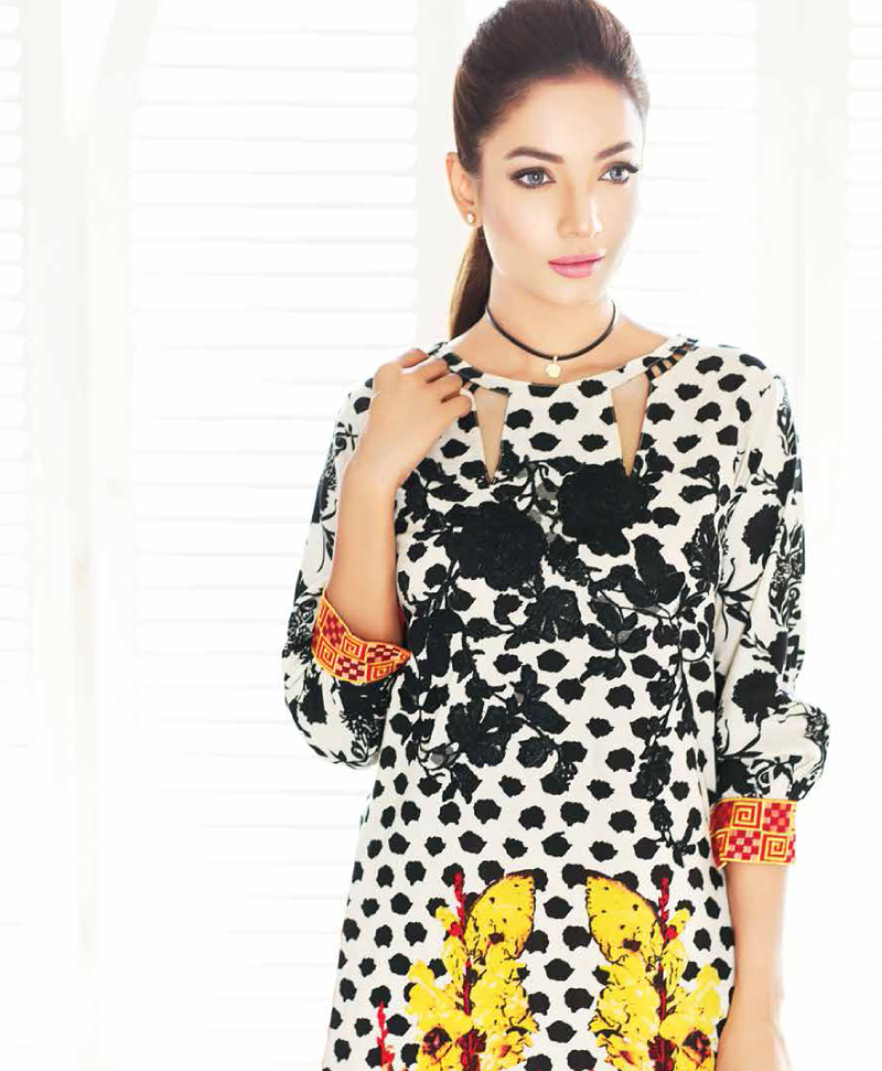 black and white viscose dress by charizma winter collection