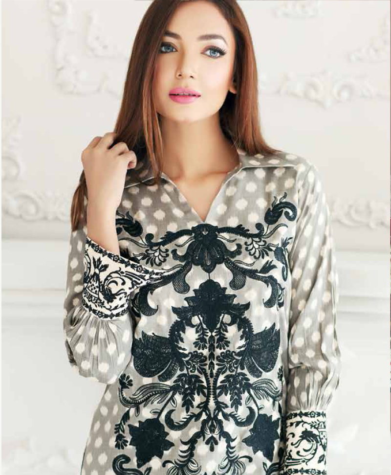 grey printed viscose outfit with black embroidery