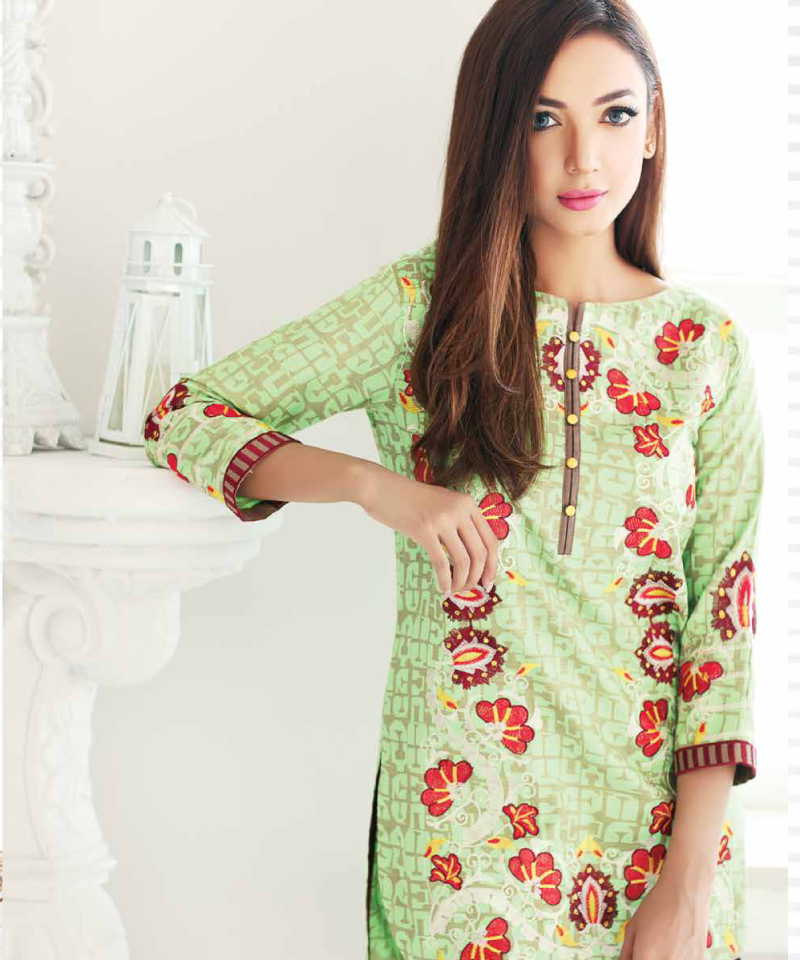 green khaddar dress with red embroidery