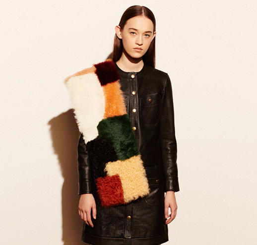 Colorful Shearling Patchwork Shawl by Coach