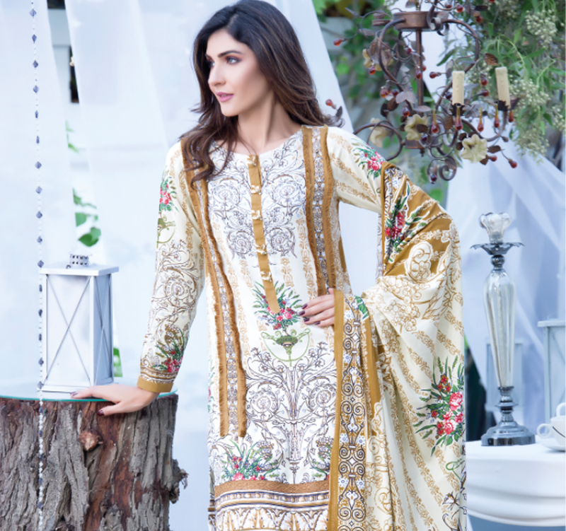 firdous fashion mustard linen winter suit