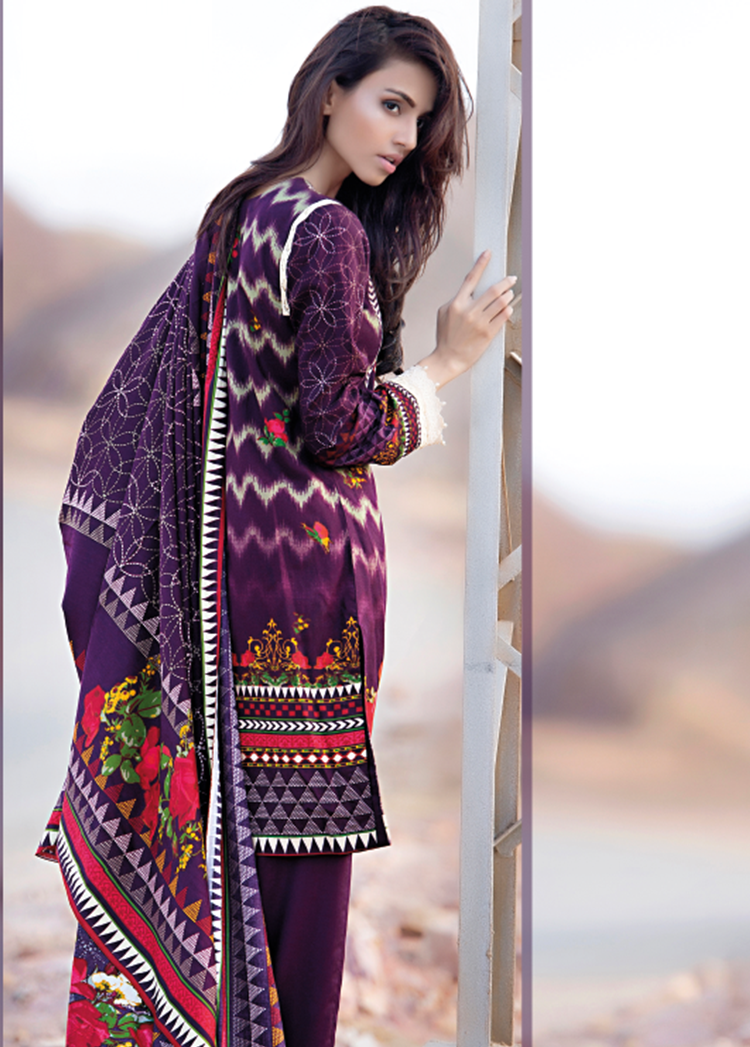purple paris linen dress by firdous fashion