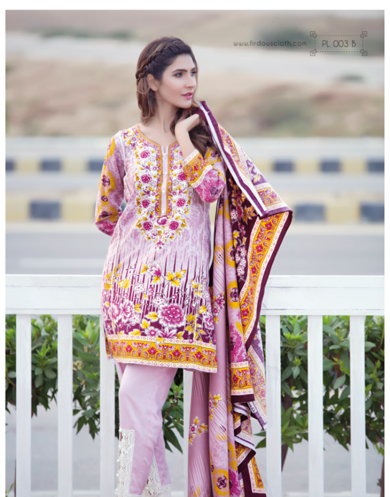 three piece firdous winter dress 2017