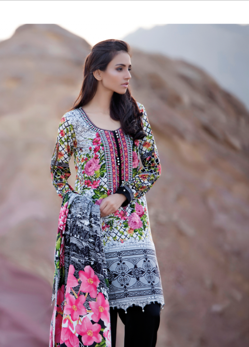black multi colored linen suit by firdous