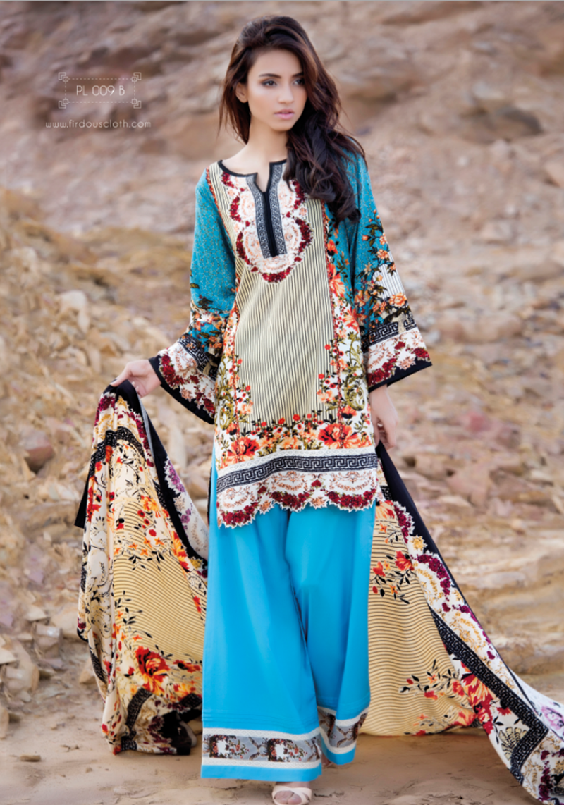 Ferozi linen printed winter dress by firdous fashion