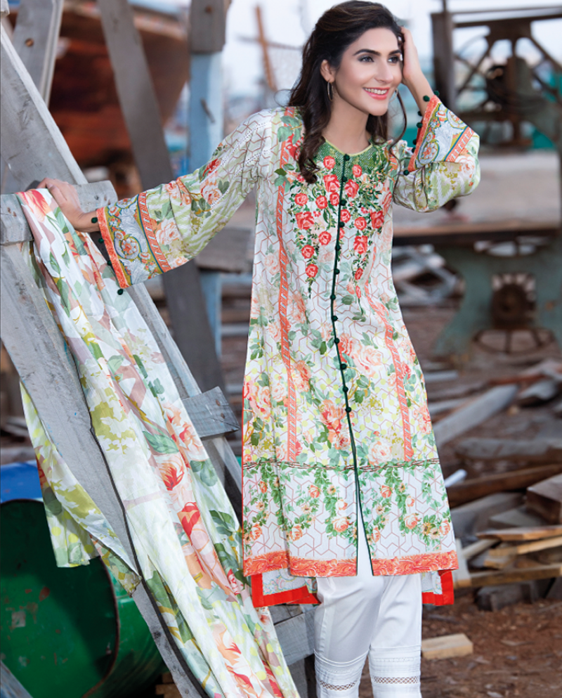 Orange floral embroidered 3 piece winter dress by firdous