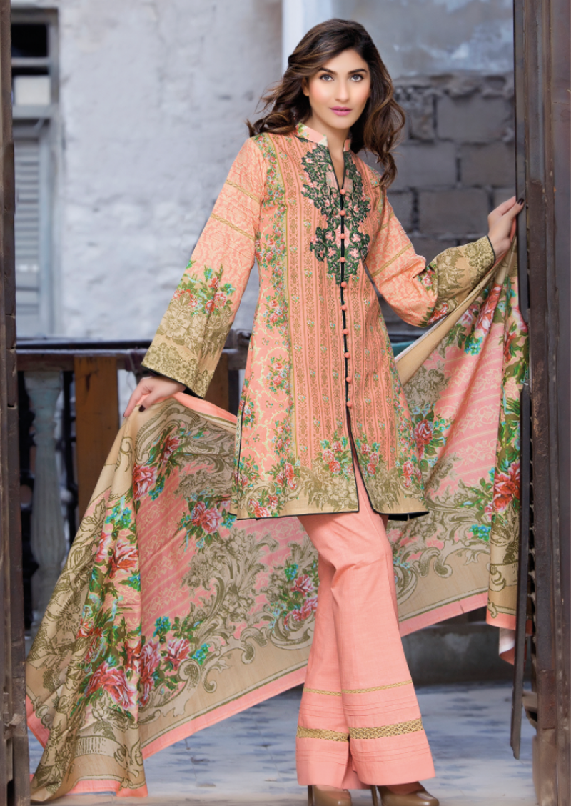 peach colored embroidered khaddar suit by Firdous