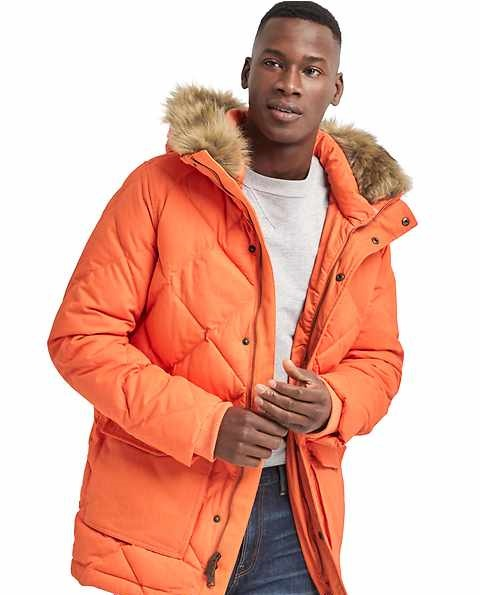 warm winter puffer parka for men by Gap