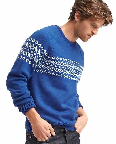 fair isle crew blue winter sweater