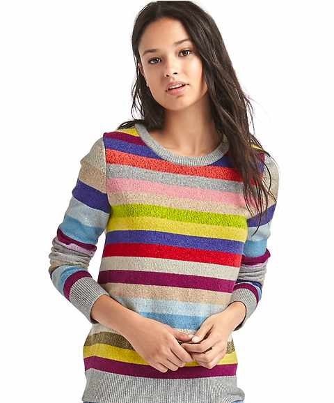 shimmer merino blend colorful winter sweater