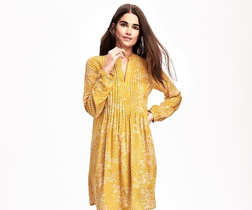 yellow double sided pleats winter dress
