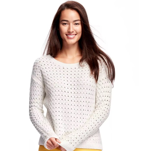 high low honeycomb stitch pullover
